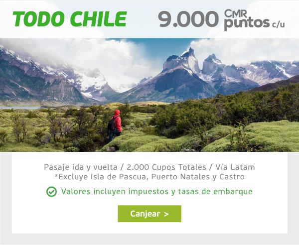 TODO CHILE 9.000 CMR Puntos c/u Pasaje ida y vuelta  /  Vía LATAM  /  2.000 cupos totales